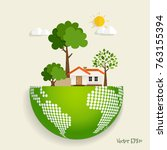 eco friendly. ecology concept... | Shutterstock .eps vector #763155394