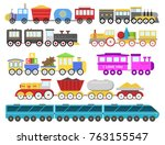 cartoon toy train vector... | Shutterstock .eps vector #763155547