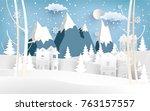 beautiful scenery in the winter ... | Shutterstock .eps vector #763157557