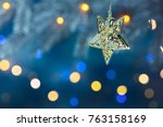 christmas tree branch decorated ...   Shutterstock . vector #763158169