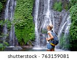 tropical traveling. young woman ... | Shutterstock . vector #763159081