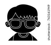 cute boy with sunglasses cartoon | Shutterstock .eps vector #763161949