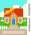 cute design of house with a... | Shutterstock .eps vector #763166095