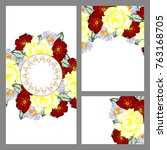 invitation with floral... | Shutterstock . vector #763168705