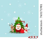 christmas greeting card with... | Shutterstock .eps vector #763171981