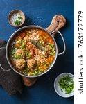 multi grain  meatballs and... | Shutterstock . vector #763172779