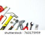 top view of working tools...   Shutterstock . vector #763175959