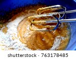 mixer mixing cake batter  with... | Shutterstock . vector #763178485