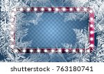 2018 new year on ice frosted... | Shutterstock .eps vector #763180741