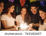 friends having party on the... | Shutterstock . vector #763182607
