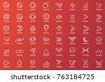 modern minimal vector logo for... | Shutterstock .eps vector #763184725