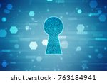 security concept  lock on... | Shutterstock . vector #763184941