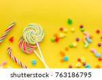 sweets for birthday including...   Shutterstock . vector #763186795
