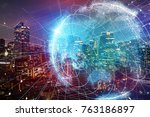 smart city and global network... | Shutterstock . vector #763186897