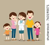 cute family visiting the doctor.... | Shutterstock .eps vector #763190071