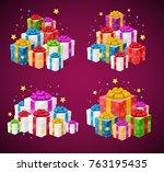 realistic 3d detailed present... | Shutterstock .eps vector #763195435