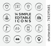set of 14 location outline... | Shutterstock .eps vector #763195681