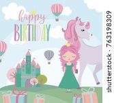 magic birthday party card ... | Shutterstock .eps vector #763198309