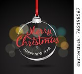 merry christmas and happy new... | Shutterstock .eps vector #763198567