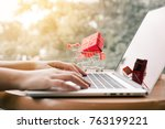 online shopping concept with... | Shutterstock . vector #763199221