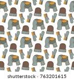 seamless pattern of hats ... | Shutterstock .eps vector #763201615