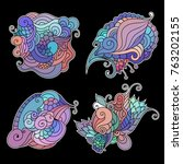 set of colorful zentangle... | Shutterstock .eps vector #763202155