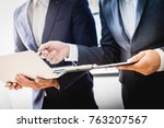 business partners discussing... | Shutterstock . vector #763207567