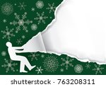 unpacking a large christmas... | Shutterstock .eps vector #763208311