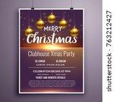 elegant merry christmas party... | Shutterstock .eps vector #763212427