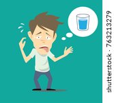 thirsty man thinking about... | Shutterstock .eps vector #763213279