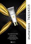 golden oil cosmetic cream...   Shutterstock .eps vector #763214215