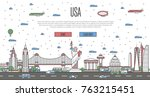 usa skyline with national... | Shutterstock .eps vector #763215451
