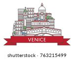 travel venice poster with... | Shutterstock .eps vector #763215499