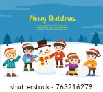 happy new year and merry... | Shutterstock .eps vector #763216279