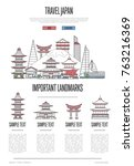 japan travel infographics with... | Shutterstock .eps vector #763216369