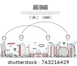 air travel to abu dhabi poster... | Shutterstock .eps vector #763216429