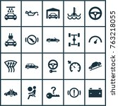 automobile icons set with