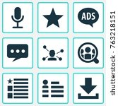 media icons set with relation ... | Shutterstock .eps vector #763218151
