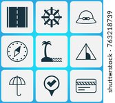 travel icons set with woman cap ... | Shutterstock .eps vector #763218739