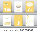 set of birthday cards poster... | Shutterstock .eps vector #763218841