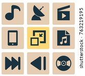 multimedia icons set with... | Shutterstock .eps vector #763219195