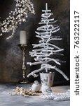 christmas wreath with berries... | Shutterstock . vector #763222117