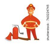 fireman or firefighter uniform... | Shutterstock .eps vector #763224745