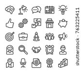 marketing and seo icons set.... | Shutterstock .eps vector #763225411