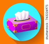 vector tissue box flat icon.... | Shutterstock .eps vector #763226971