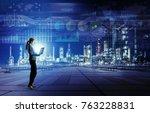 smart factory concept. internet ... | Shutterstock . vector #763228831