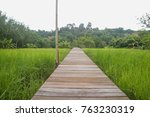 wooden walk way through paddy... | Shutterstock . vector #763230319