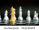 gold king in chess game face... | Shutterstock . vector #763230649