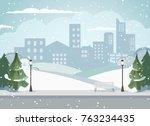 cityscape of a big metropolis.... | Shutterstock .eps vector #763234435