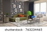 interior living room. 3d... | Shutterstock . vector #763234465